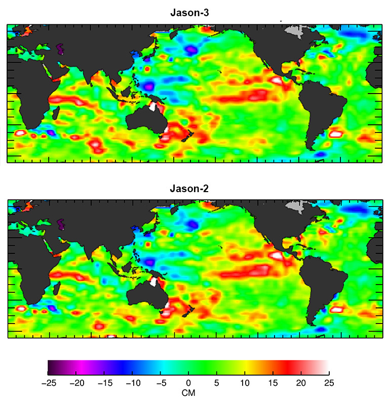 The U.S./European Jason-3 satellite has produced its first map of sea surface height, which corresponds well to data from its predecessor, Jason-2. Higher-than-normal sea levels are red; lower-than-normal sea levels are blue. El Niño is visible as the red blob in the eastern equatorial Pacific. Credit: Ocean Surface Topography Science Team.