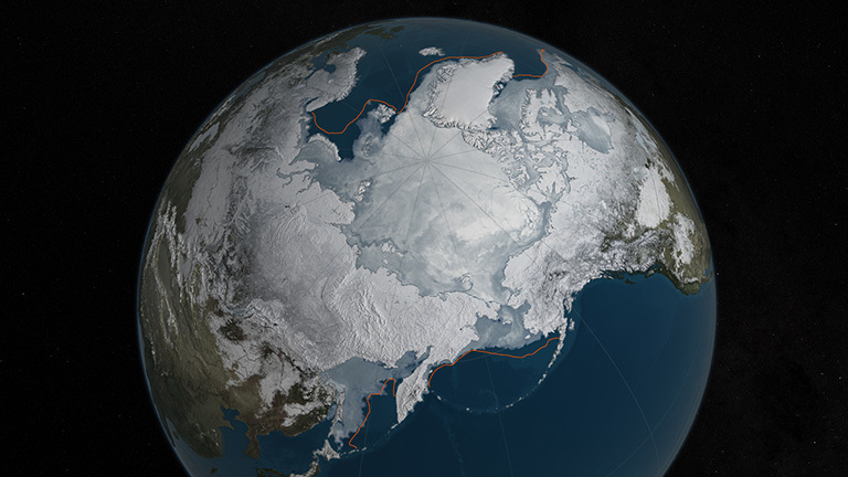 Arctic sea ice was at a record low wintertime maximum extent for the second straight year. At 5.607 million square miles, it is the lowest maximum extent in the satellite record, and 431,000 square miles below the 1981 to 2010 average maximum extent. Credit: NASA Goddard's Scientific Visualization Studio/C. Starr.