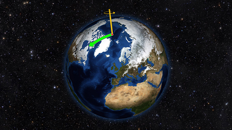 Earth does not always spin on an axis running through its poles. Instead, it wobbles irregularly over time, drifting toward North America throughout most of the 20th Century (green arrow). That direction has changed drastically due to changes in water mass on Earth. Credit: NASA/JPL-Caltech.