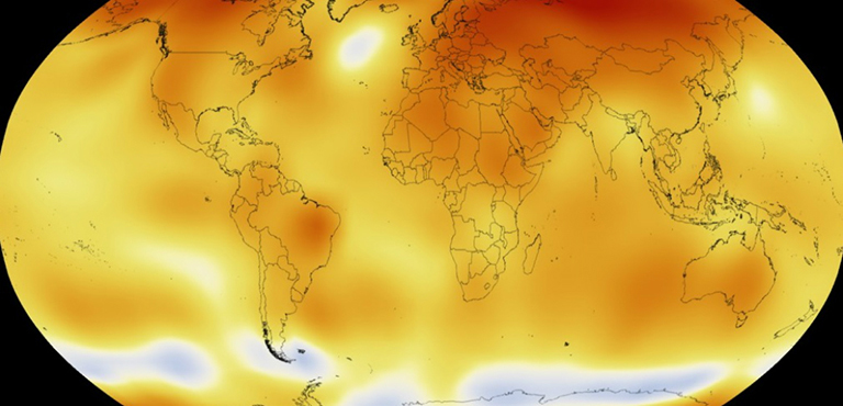 NASA scientists track global temperatures as part of the agency's mission to better understand our changing planet. Earth's 2015 surface temperatures were the warmest since modern record keeping began in 1880. Credit: NASA.
