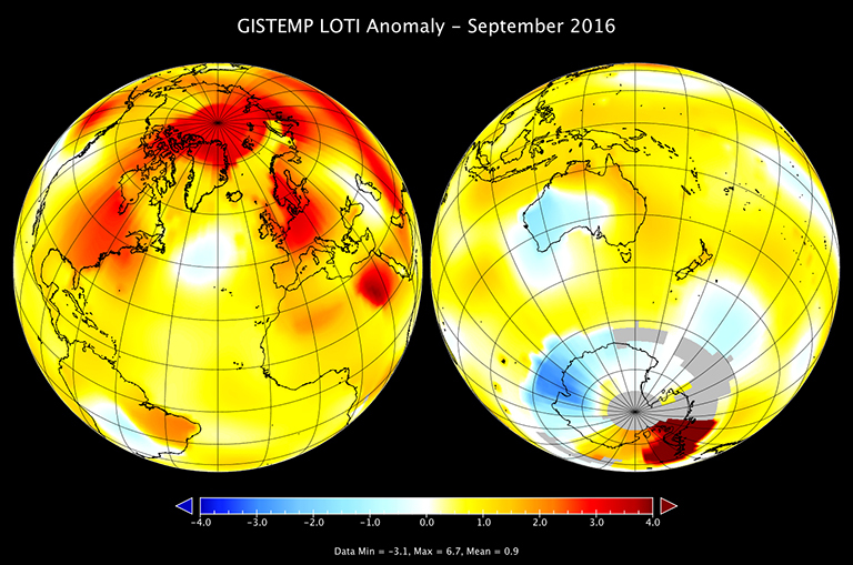 A map of the September 2016 LOTI (land-ocean temperature index) anomaly, showing that much of the warmer temperatures occurred in the northern hemisphere. (Credit: NASA/GISS)