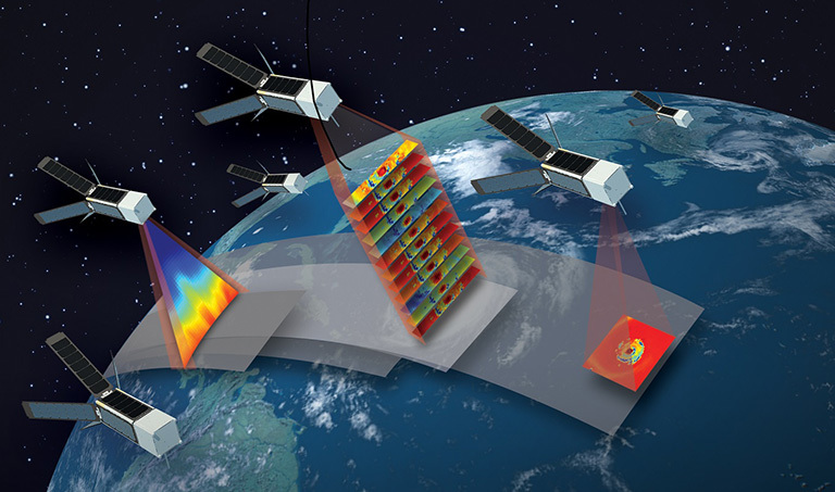 Artist's concept of the TROPICS mission, which will study hurricanes with a constellation of 12 CubeSats flying in formation. Credit: MIT Lincoln Laboratory.