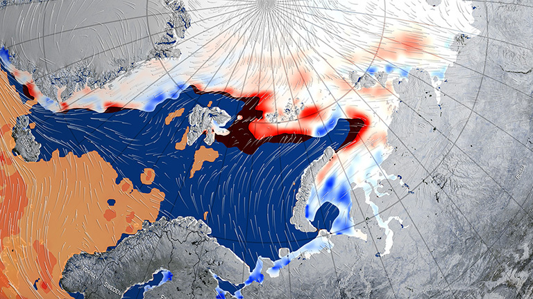 This image shows the winds and warm mass of air associated with a large cyclone that swept the Arctic in late December 2015-early January 2016, thinning and shrinking the sea ice cover. Credit: NASA Goddard's Scientific Visualization Studio/Alex Kekesi, data visualizer.