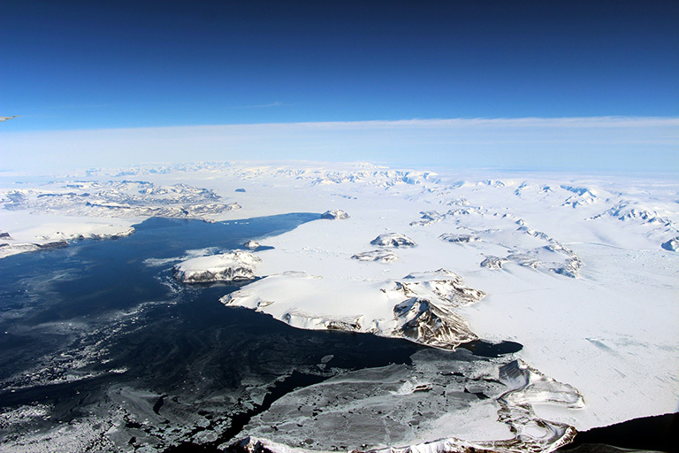 The northernmost Antarctic Peninsula, viewed from the northeast aboard the IceBridge research aircraft on an Oct. 17, 2016, flight toward the mission's inshore survey line in the western Weddell Sea. Credit: NASA/John Sonntag.