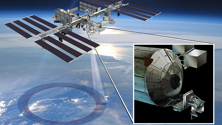 Artist's rendering of NASA's ISS-RapidScat instrument (inset). Credit: NASA/JPL-Caltech/Johnson Space Center