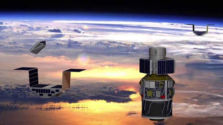 Artist's concept of the deployment of the eight Cyclone Global Navigation Satellite System (CYGNSS) microsatellite observatories in space. Credit: NASA.