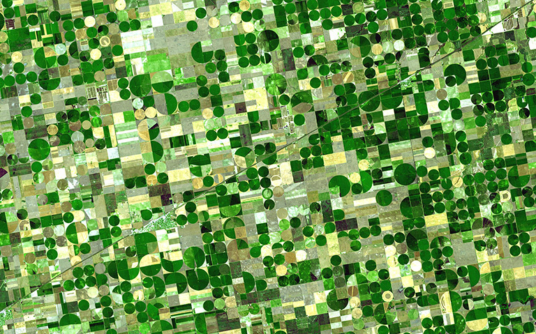 Finney County in southwestern Kansas is now irrigated cropland where once there was shortgrass prairie. Green areas in the image are healthy vegetation. Credit: NASA/GSFC/METI/Japan Space Systems, and U.S./Japan ASTER Science Team.