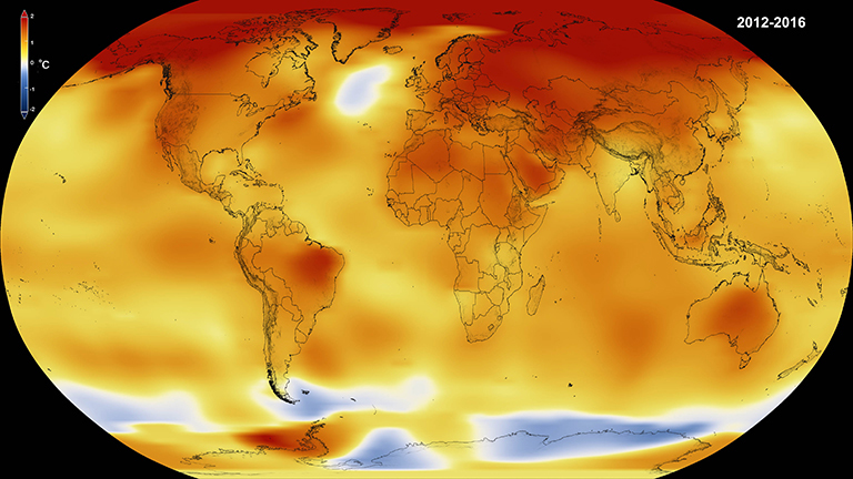 Global temperature anomalies averaged from 2012 through 2016 in degrees Celsius. Credit: NASA/Goddard Space Flight Center Scientific Visualization Studio. Data provided by Robert B. Schmunk (NASA/GSFC GISS).
