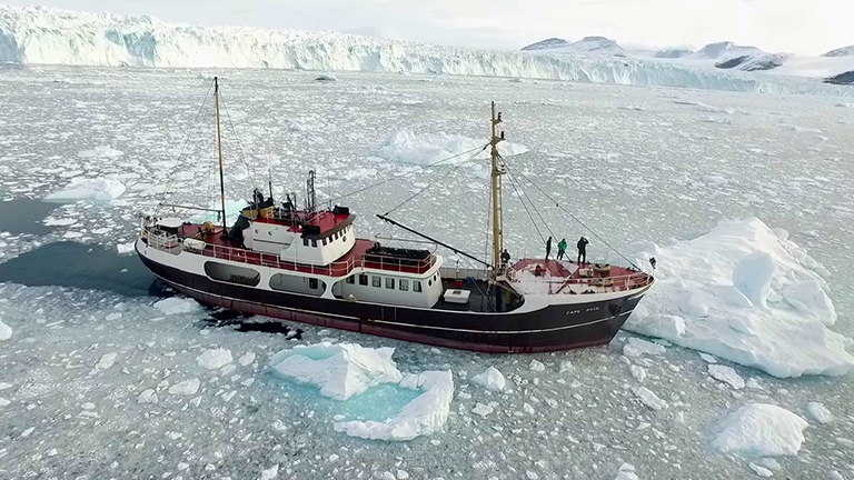 The research ship M/V Cape Race on Greenland's northwest coast during OMG's survey of the seafloor. Credit: NASA/JPL-Caltech.