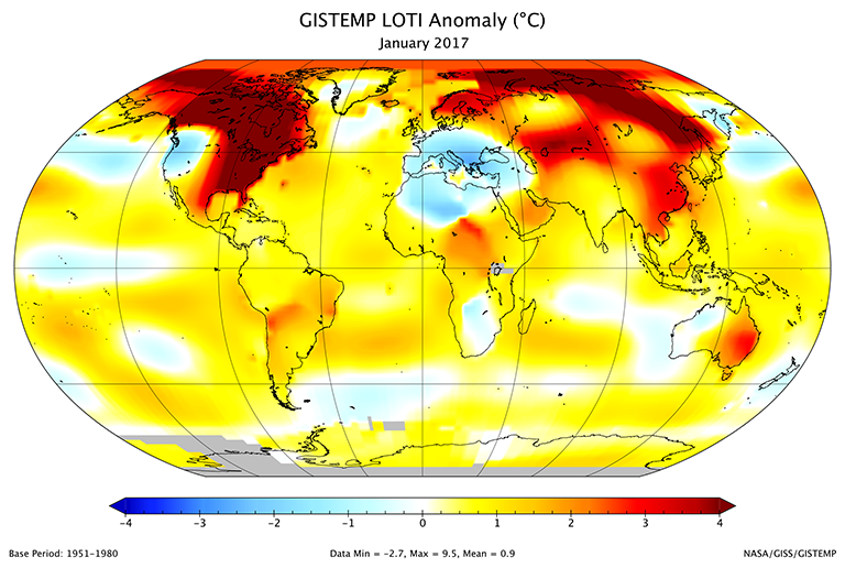 A map of the January 2017 LOTI (land-ocean temperature index) anomaly shows that most of North America and Siberia were much warmer than the 1951-1980 base period. Much of the rest of Asia was also relatively warm. Parts of Antarctica are gray because data from stations there had not yet been received. Credit: NASA/GISS.