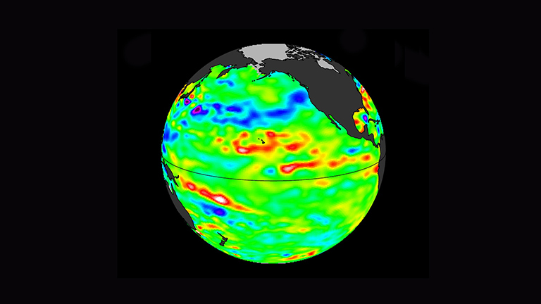 Data collected Feb. 28 – March 12, 2017, by the U.S./European Jason-3 satellite show near-normal ocean surface heights in green, warmer areas in red and colder areas in blue. Ocean surface height is related in part to its temperature, and thus is an indicator of how much heat is stored in the upper ocean. Credit: NASA/JPL-Caltech.