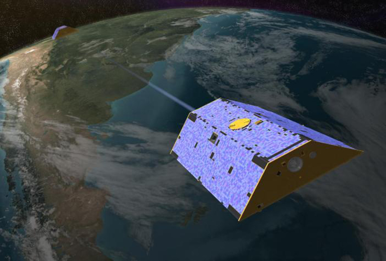 Artist's concept of the Gravity Recovery and Climate Experiment (GRACE) from December 2002. Credit: NASA/JPL.
