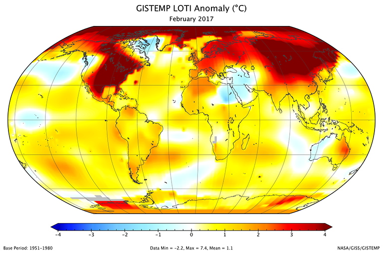 Global map of the February 2017 LOTI (land-ocean temperature index) anomaly shows that North America and Siberia were again much warmer than the 1951-1980 base period, and that Europe was relatively warm. Credit: NASA/GISS. View larger image.