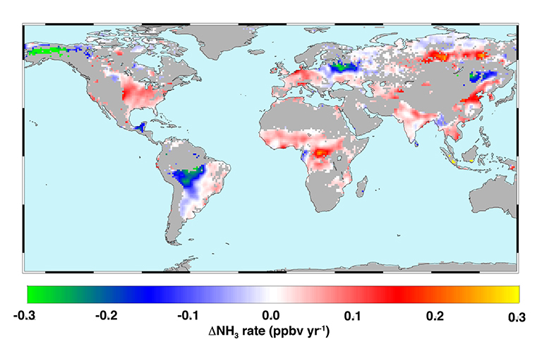 Global atmospheric ammonia trends measured from space from 2002 to 2016. Hot colors represent increases from a combination of increased fertilizer application, reduced scavenging by acid aerosols and climate warming. Cool colors show decreases due to reduced agricultural burning or fewer wildfires. Credit: Juying Warner/GRL.
