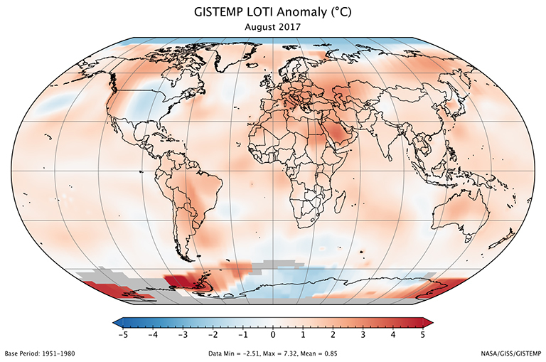 A global map of the August 2017 LOTI (land-ocean temperature index) anomaly, relative to the 1951-1980 August average. Part of Antarctica is gray because data from some stations there were not yet available at the time of this posting. View larger image.
