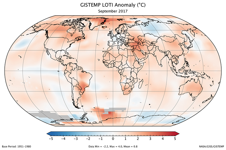 A global map of the September 2017 LOTI (land-ocean temperature index) anomaly, relative to the 1951-1980 September average. View larger image.