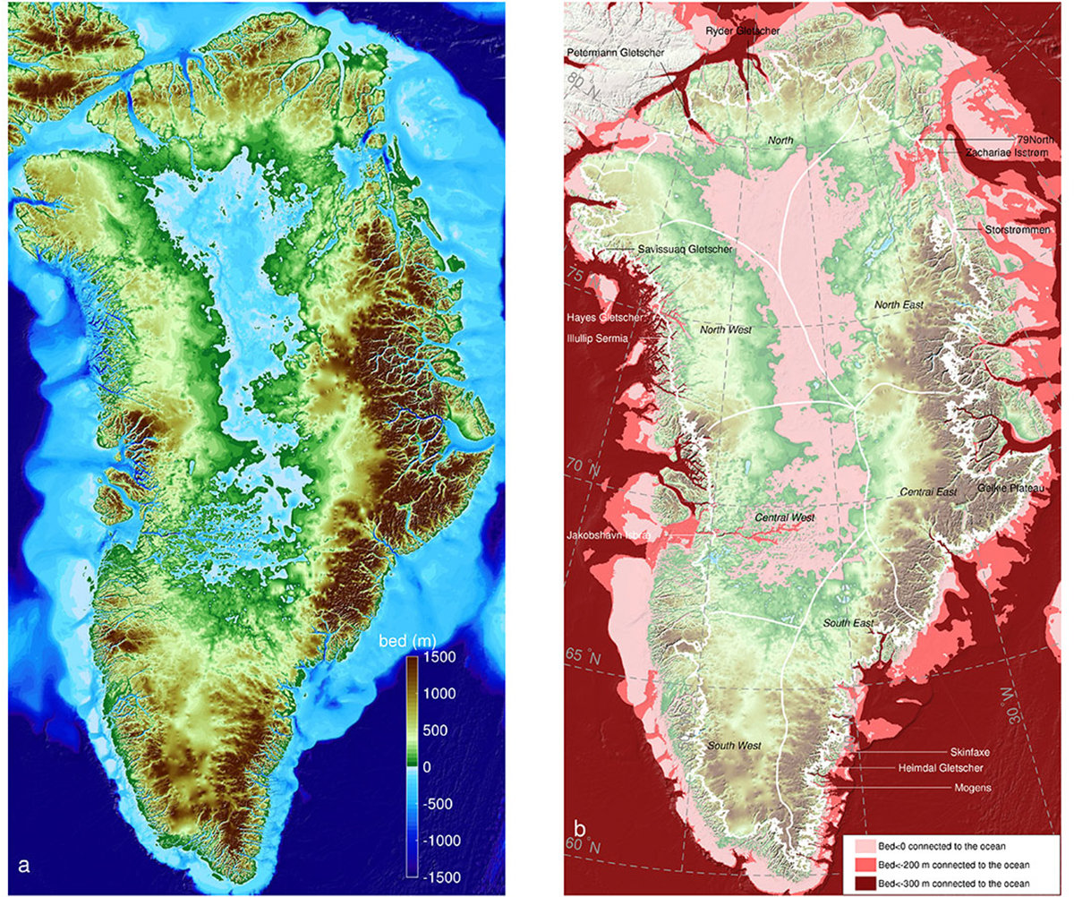 Side by side maps of Greenland - showing color coded topography of sea level change