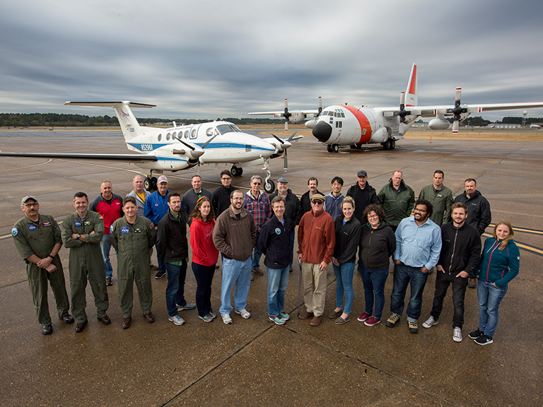 ACT America group with the B200 King Air and C130 Hercules in Shreveport, Louisiana. Credit: NASA/David C. Bowman.