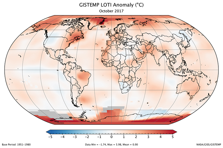 A global map of the October 2017 LOTI (land-ocean temperature index) anomaly, relative to the 1951-1980 October average. View larger image.