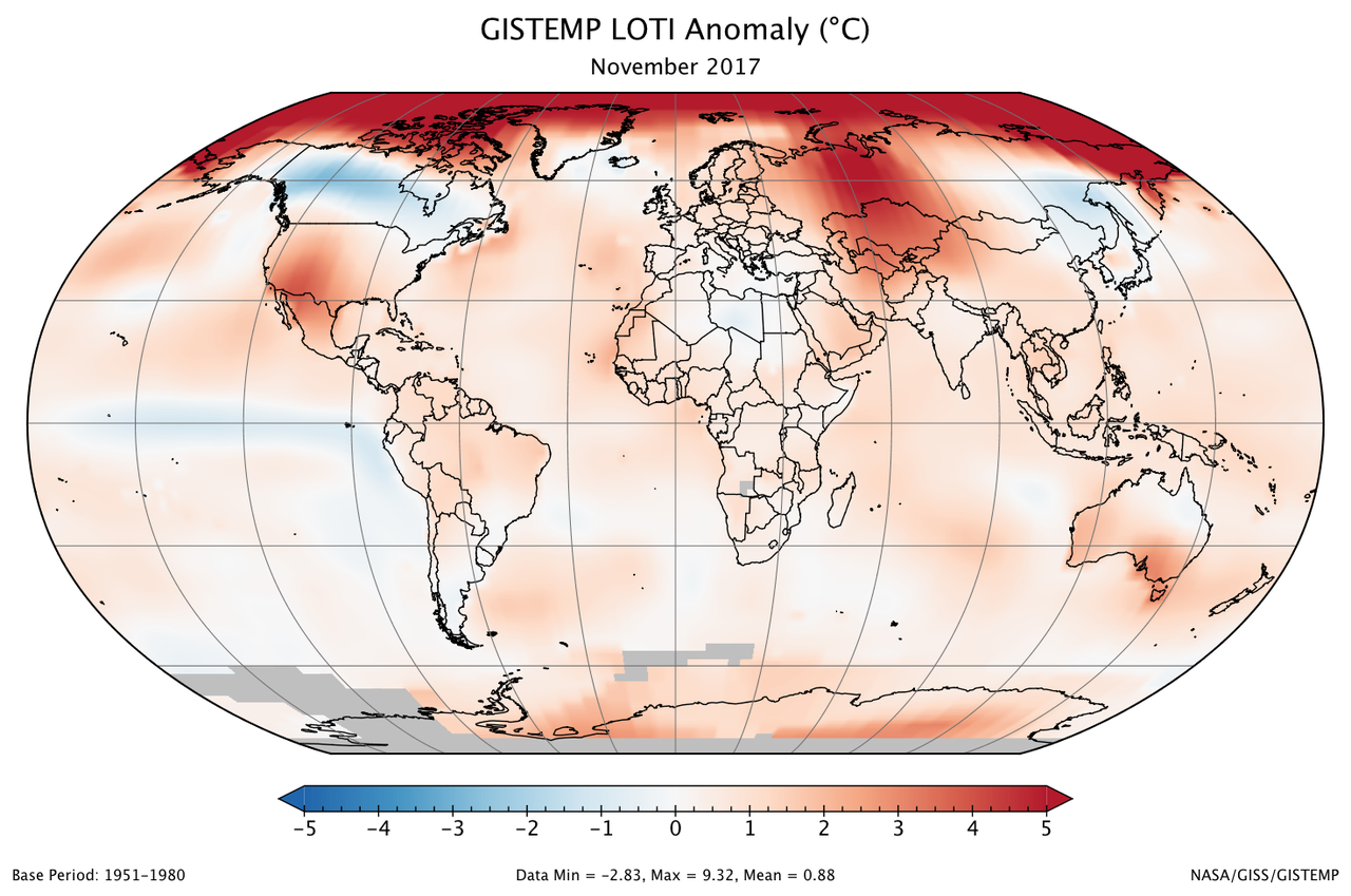 A global map of the November 2017 LOTI (land-ocean temperature index) anomaly, relative to the 1951-1980 November average. Part of Antarctica is gray because data from some stations there were not yet available at the time of this posting. View larger image.