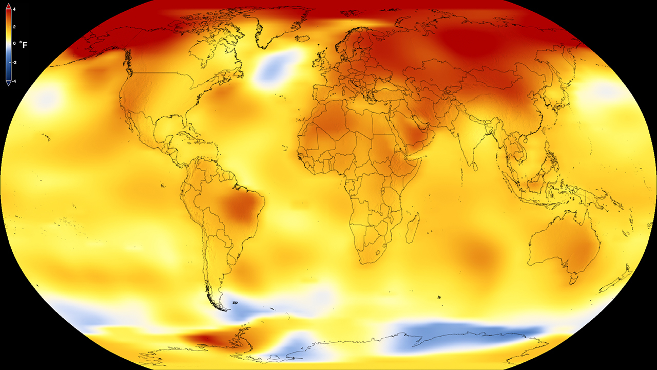 This map shows Earth's average global temperature from 2013 to 2017, as compared to a baseline average from 1951 to 1980, according to an analysis by NASA's Goddard Institute for Space Studies. Yellows, oranges, and reds show regions warmer than the baseline. Credit: NASA's Scientific Visualization Studio.