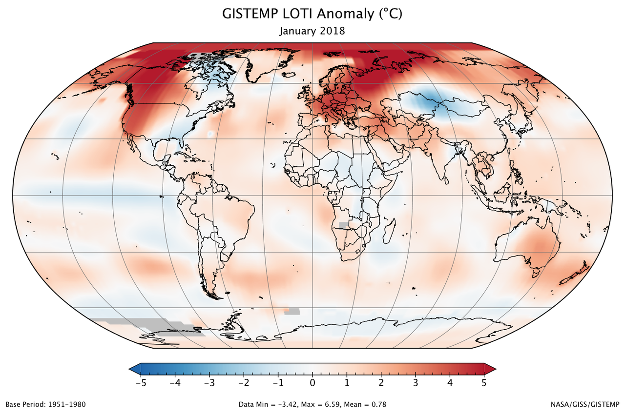 January 2018 was fifth warmest january on record climate change a global map of the january 2018 loti land ocean temperature index anomaly gumiabroncs Gallery