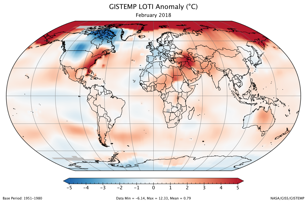 February 2018 was sixth warmest february on record climate change a global map of the february 2018 loti land ocean temperature index anomaly freerunsca Images