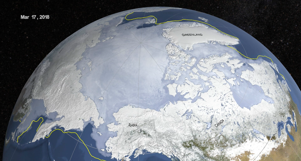 Arctic wintertime sea ice extent is among lowest on record ...