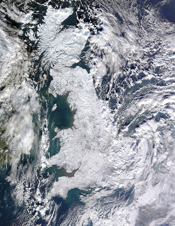 Great Britain: A historic snowfall blanketed Great Britain on Jan. 7 this year. A strong high-pressure mode of a pattern called the Arctic Oscillation pushed the jet stream further south and allowed Arctic air masses to invade Northern Europe in December and January, making for unusually severe and cold weather.