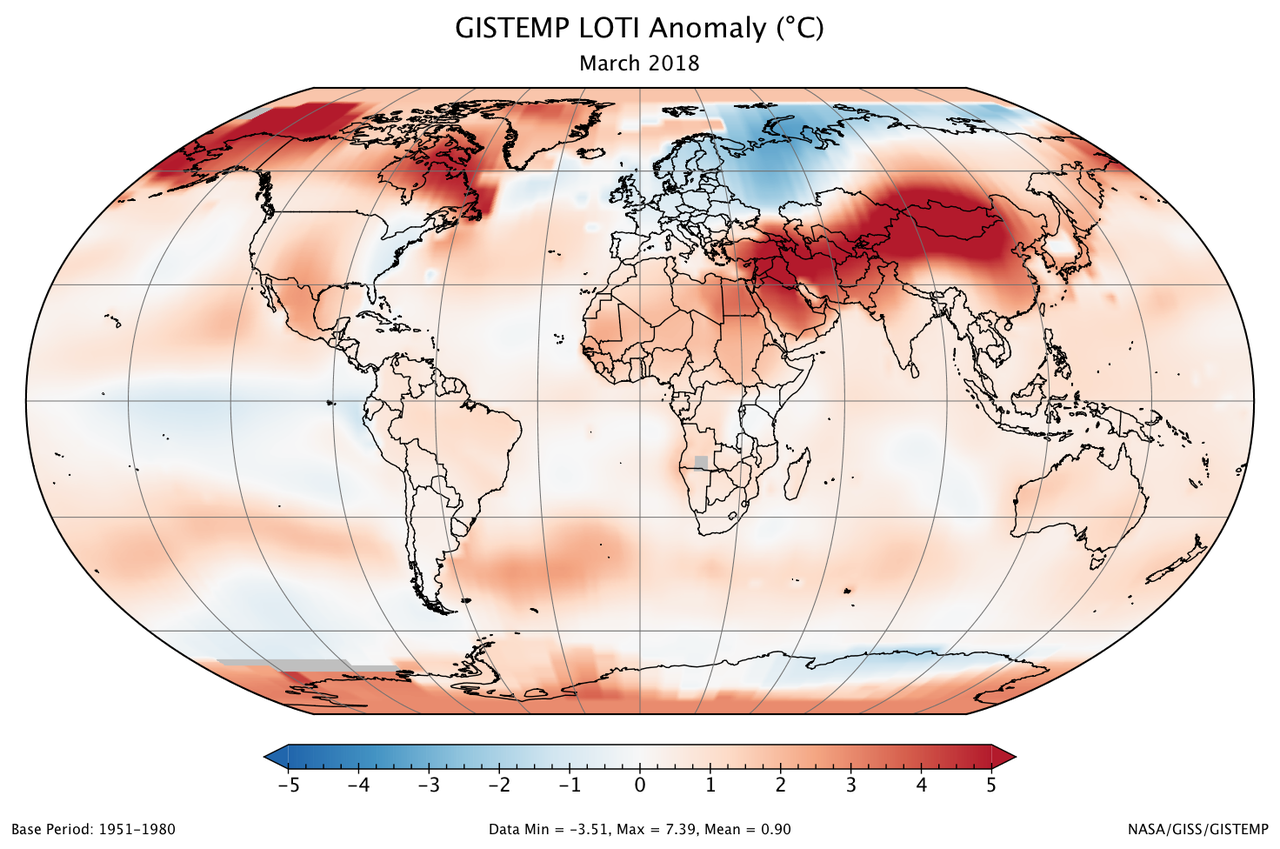 March 2018 was one of six warmest marches on record climate change a global map of the march 2018 loti land ocean temperature index anomaly freerunsca Images