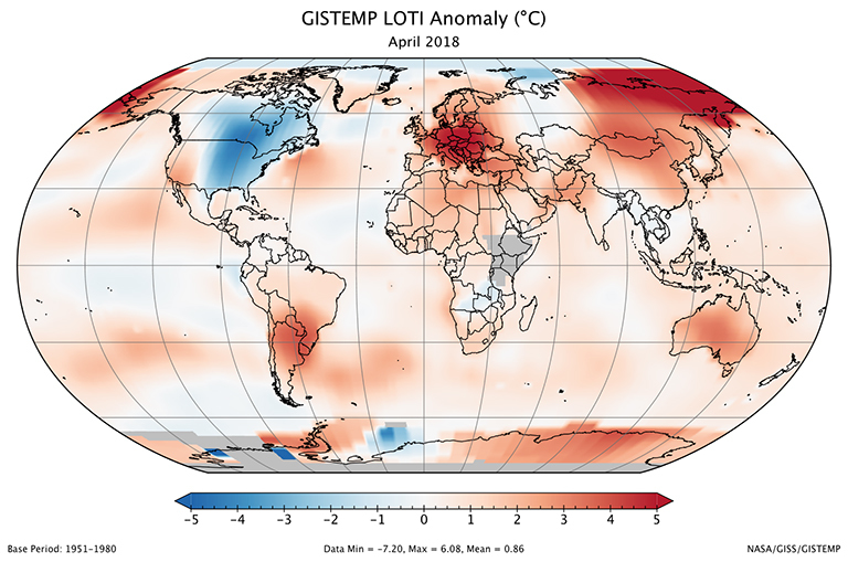 A global map of the April 2018 LOTI (land-ocean temperature index) anomaly, relative to the 1951-1980 April average. Parts of East Africa and Antarctica are gray because temperature data has not yet been received from those areas. View larger image.