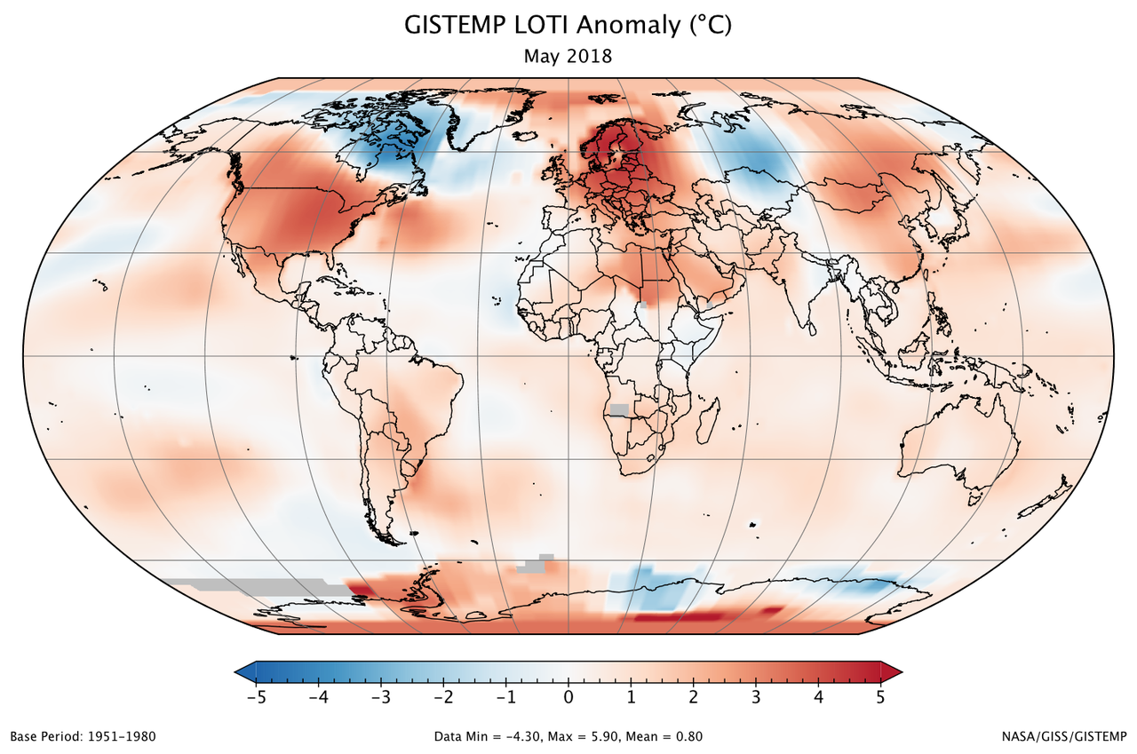 A global map of the May 2018 LOTI (land-ocean temperature index) anomaly, relative to the 1951-1980 May average. View larger image.