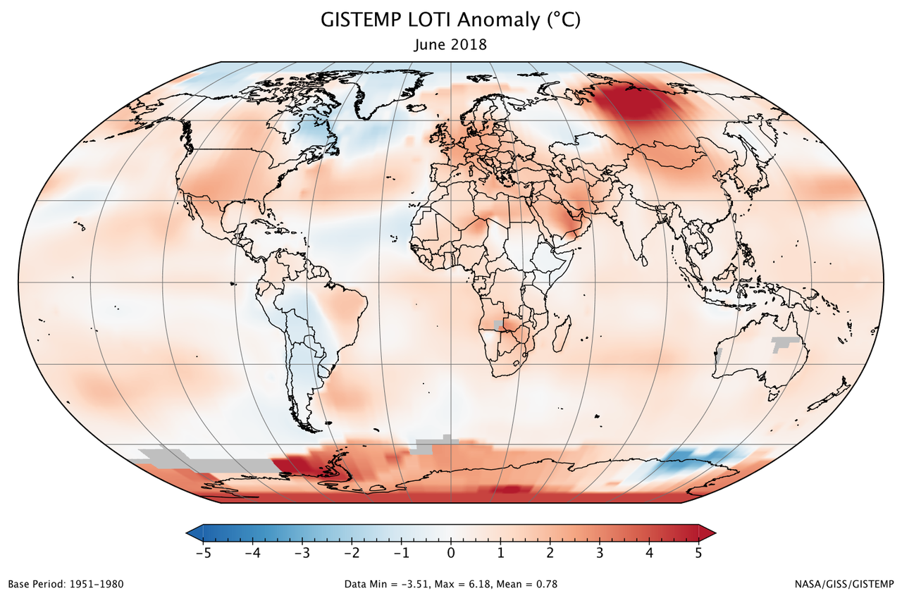 A global map of the June 2018 LOTI (land-ocean temperature index) anomaly, relative to the 1951-1980 June average. View larger image.