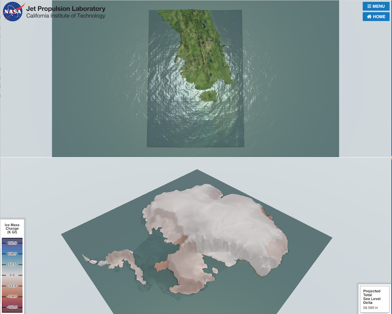 A new simulation from the Virtual Earth System Laboratory at NASA-JPL allows you to control a melting Antarctica. ›​Enter the simulation