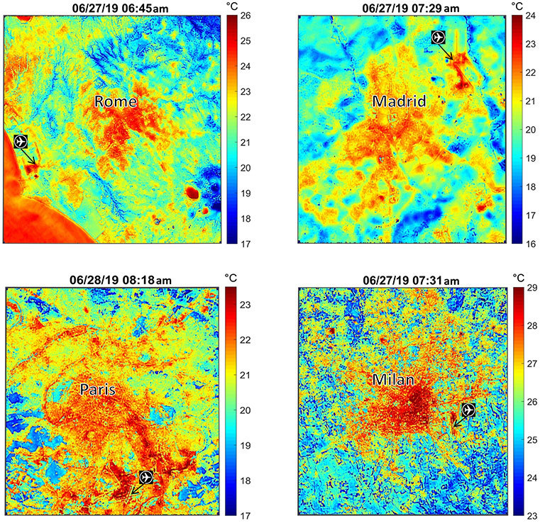 These maps of four European cities show ECOSTRESS surface temperature images acquired in the early mornings of June 27 and 28, 2019, during a heatwave. The images have been sharpened to delineate key features such as airports. Airports and city centers are hotter than surrounding regions because they have more surfaces that retain heat (asphalt, concrete, etc.). Credit: NASA/JPL-Caltech
