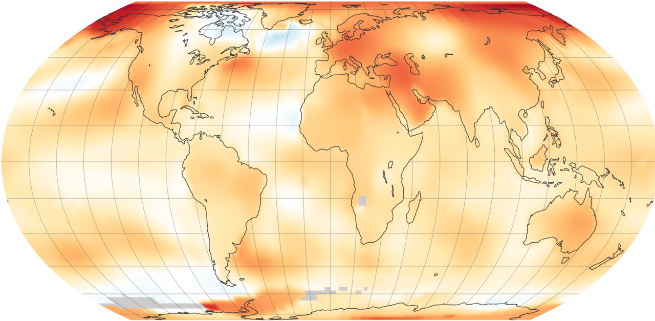 NASA and NOAA are two keepers of the world's temperature data and independently produce a record of Earth's surface temperatures and changes. Shown here are 2018 global temperature data: higher than average (1951-1980) temperatures are shown in red, lower than normal temperatures are in blue. Credit: NASA Earth Observatory