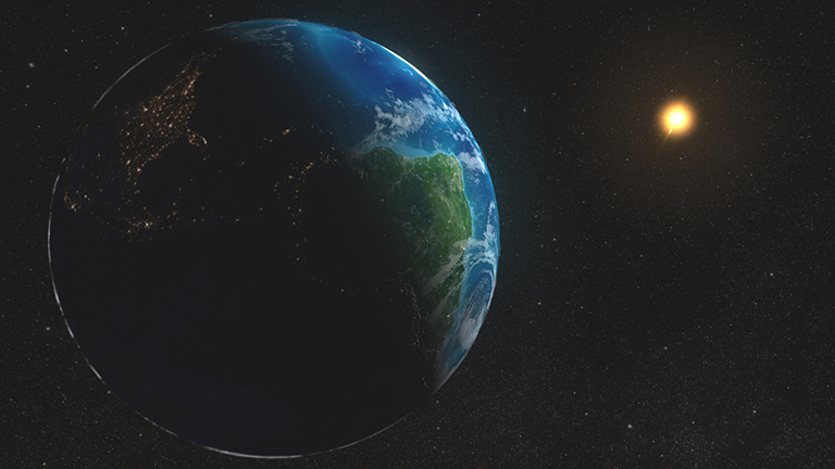 Artist's concept of Earth and Sun. Credit: NASA
