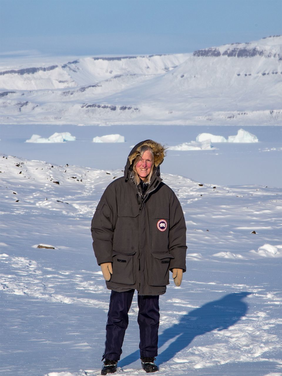 Dr. Claire Parkinson near Thule Air Base, Greenland, in March 2018. Credit: Jeremy Harbeck/NASA