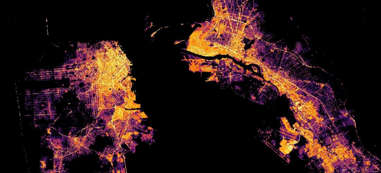 "NASA, ESA, and JAXA have assembled a wide array of their observations of Earth from space, including ""nightlights"" data from the NASA-NOAA Suomi NPP satellite, to track global and local changes brought on by the world's response to the COVID-19 pandemic. This image shows San Francisco Bay. Credit: NASA"