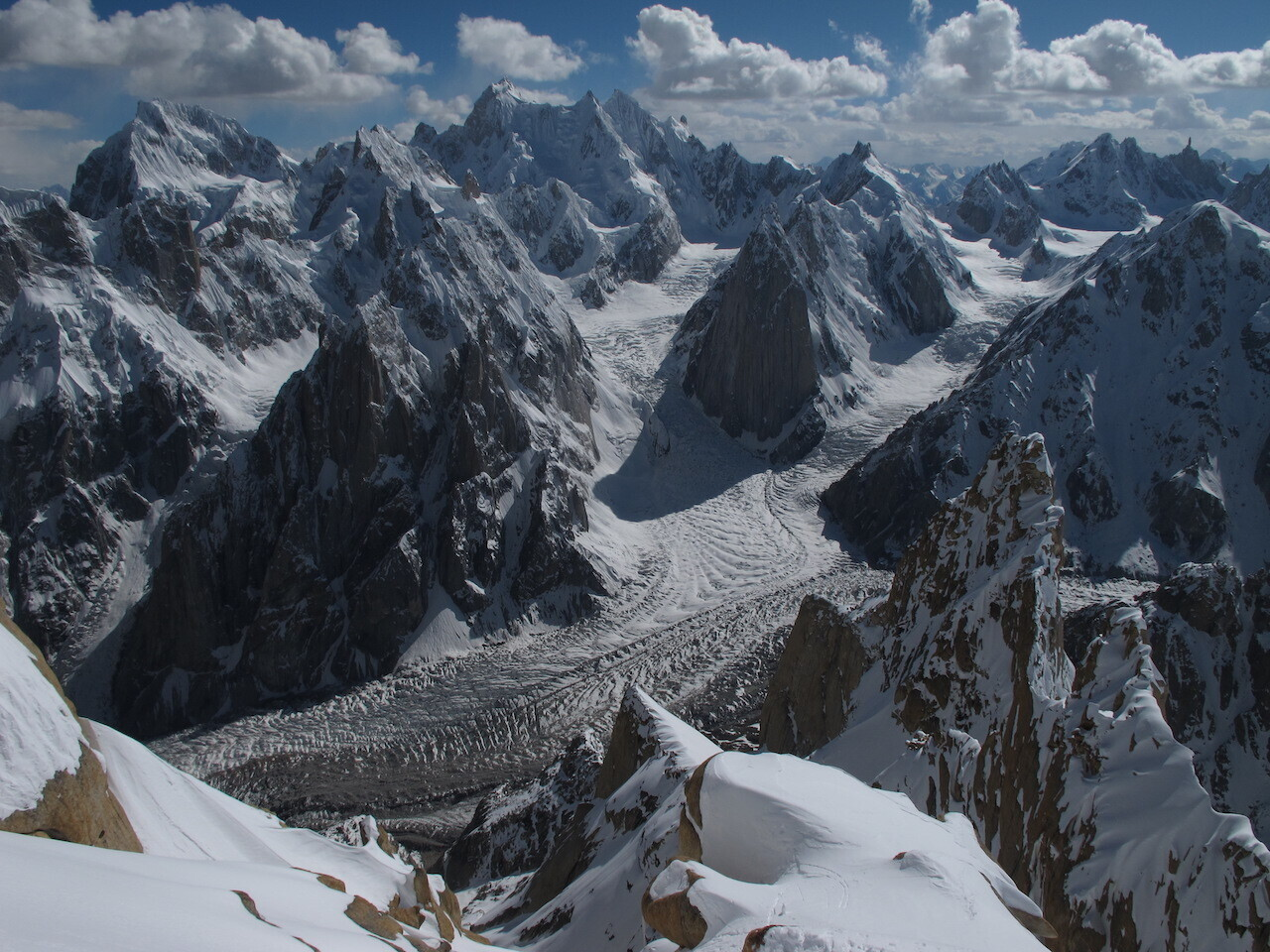 View of Karakoram glaciers in High Mountain Asia