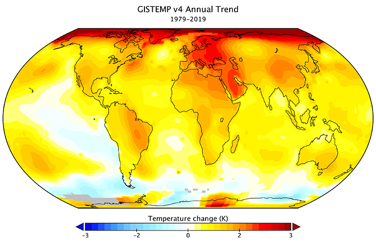 NASA GISS Surface Temperature Analysis (GISTEMP v4) trend map of observed global surface temperature change for the period from 1979 to 2019. Future global warming depends on Earth's climate sensitivity and our emissions. Credit: NASA's Goddard Institute for Space Studies