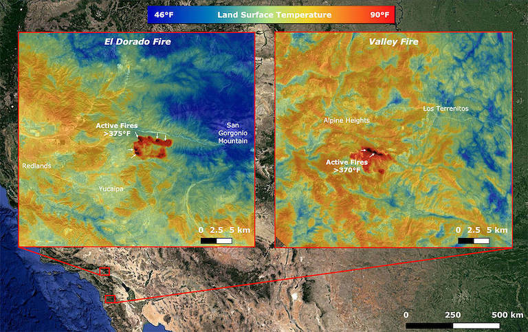 Images taken by NASA's ECOSTRESS show multiple concentrated areas of surface temperatures (in red) higher than 375 degrees Fahrenheit (191 degrees Celsius). Credit: NASA/JPL-Caltech