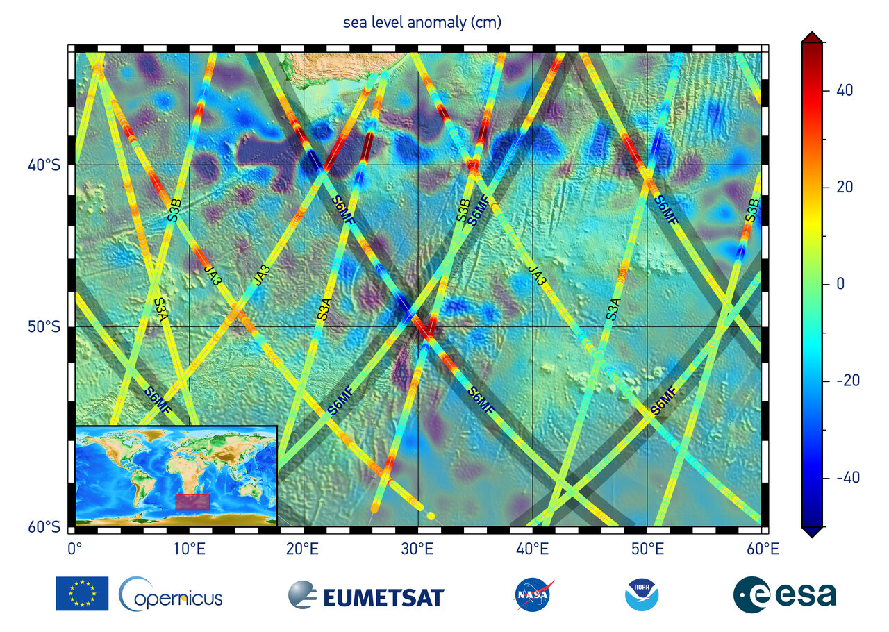 The data in this graphic are the first sea surface height measurements from the Sentinel-6 Michael Freilich satellite (S6MF)