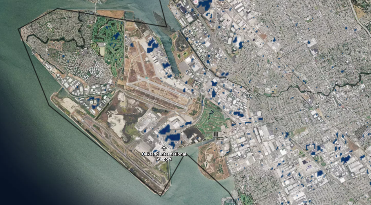 Satellite image of a California airport