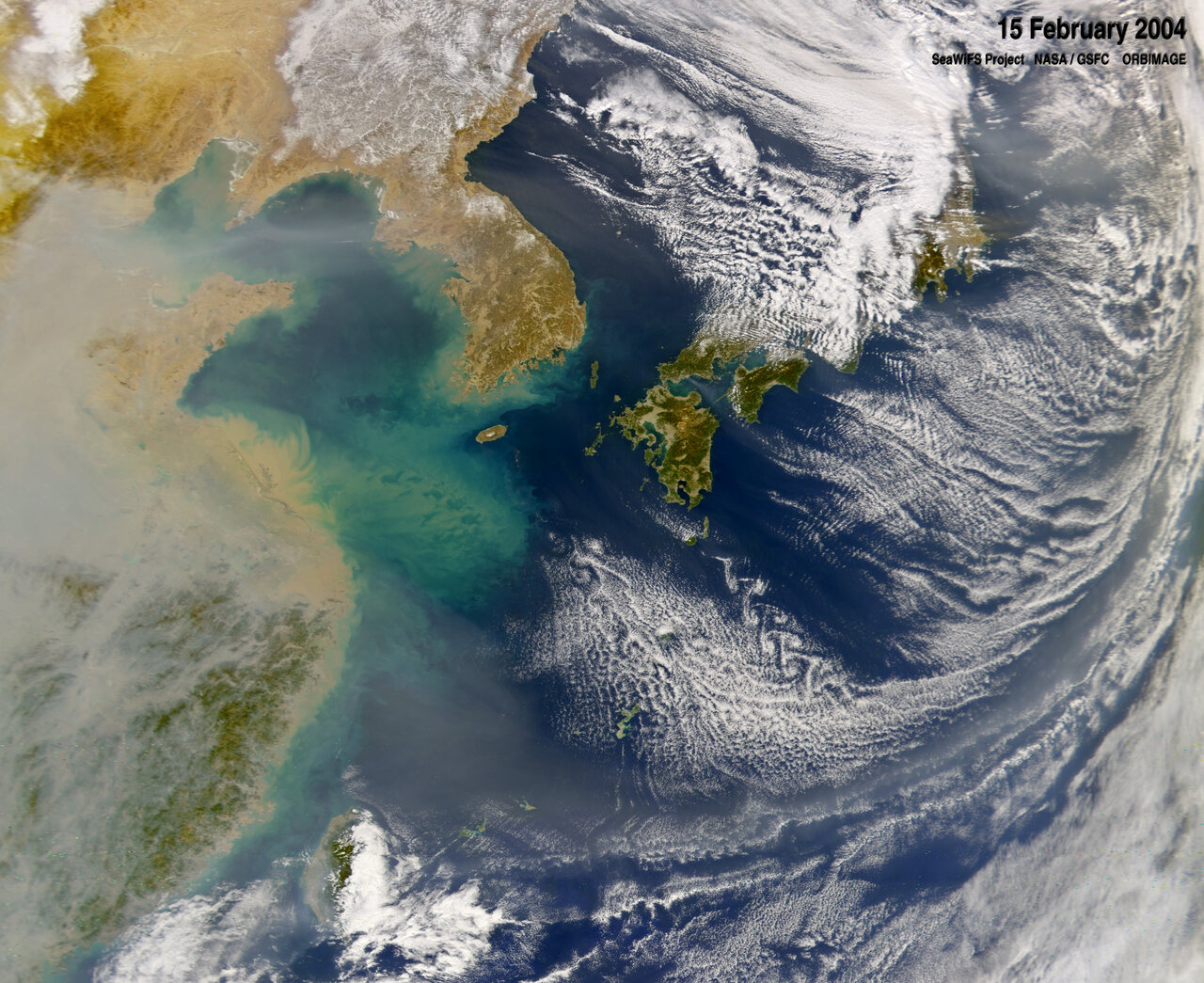 Pollution hanging over eastern China in February of 2004.