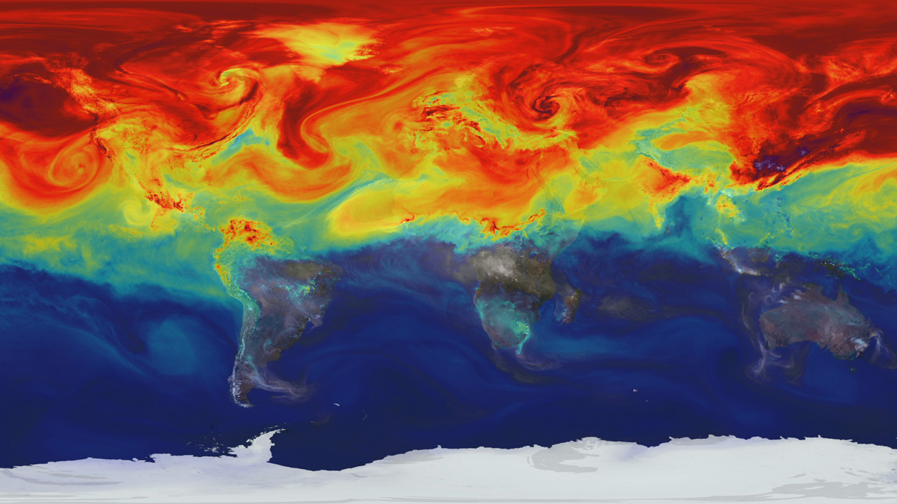 Swirls and clouds showing how greenhouse gases fluctuate in Earth's atmosphere, with higher concentrations of CO2 shown in red.