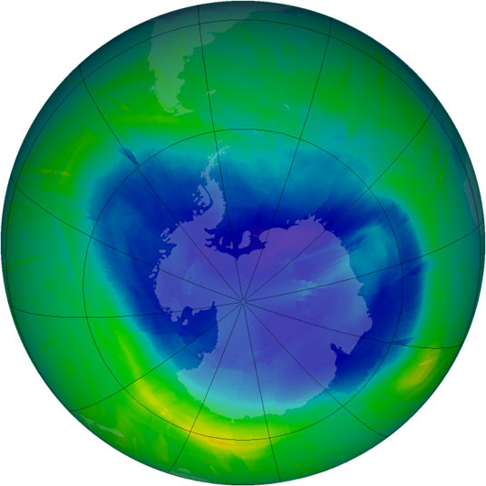 The ozone hole over the South Pole as of 14 September, 2010. Credit: Ozone Hole Watch.