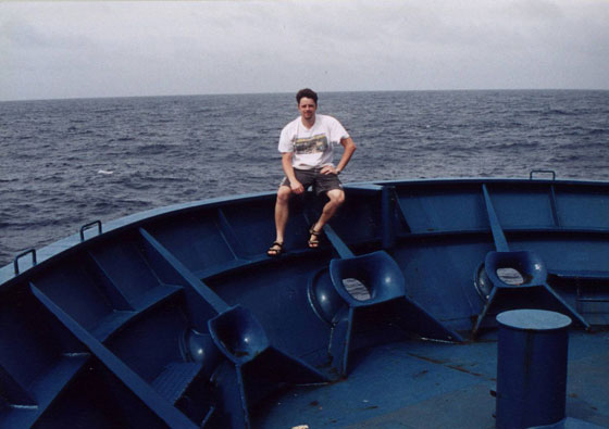 Josh sailing the high seas aboard the Columbus Florida in May 2002.