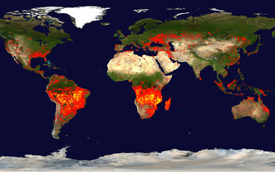 The Moderate Resolution Imaging Spectroradiometer on NASA's Terra satellite shows fires around the world.