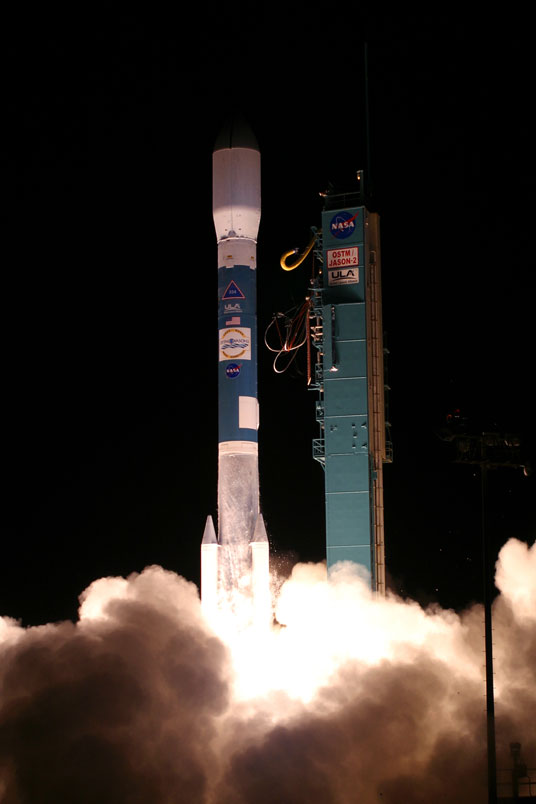On June 20, 2008, the Jason-2 satellite was launched aboard a Delta II rocket from Space Launch Complex 2 at Vandenberg Air Force Base, Calif. Jason-2 has been very successfully tracking sea level rise from space. Photo credit: United Launch Alliance.